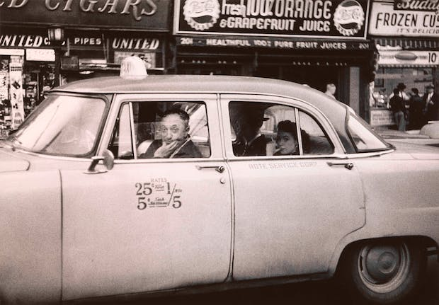 Taxicab driver at the wheel with two passengers, N.Y.C. 1956, Diane Arbus. Courtesy The Metropolitan Museum of Art, New York / copyright © The Estate of Diane Arbus, LLC