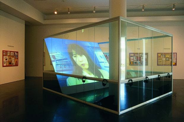 Installation view of On Translation: The Games (1996) by Antoni Muntadas at Atlanta College of Art Gallery