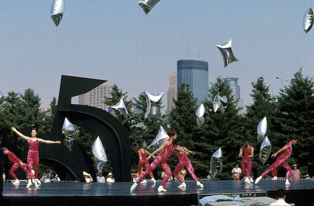 Merce Cunningham Dance Company performing 'Event for the Garden' at Minneapolis Sculpture Garden, 12 September 1998. Walker Art Center Archives