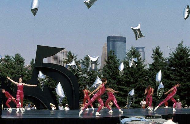 Merce Cunningham Dance Company performing 'Event for the Garden' at Minneapolis Sculpture Garden, 12 September 1998. Walker Art Center Archives