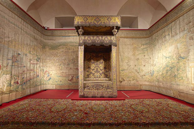 A recreation of the room in which Charles's III lay in state in 1788, at the Palacio Real, Madrid