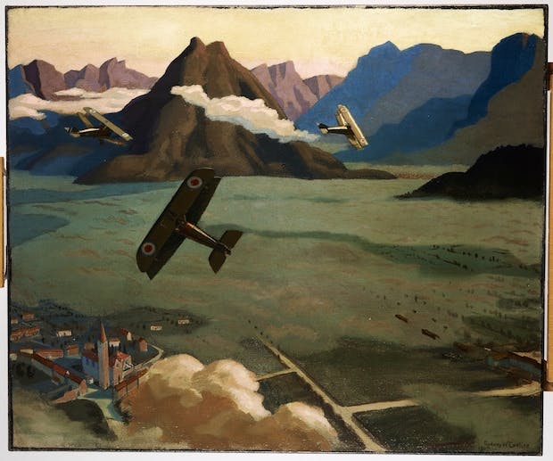 British Sopwith Camels Leaving Their Aerodrome on Patrol over the Asiago Plateau (1918), Sydney Carline. Courtesy: Imperial War Museum