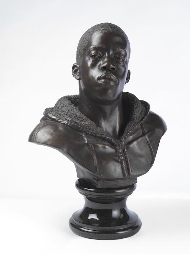 Houdon Paul-Louis (2011), Kehinde Wiley. Photo: Sarah DeSantis, Brooklyn Museum
