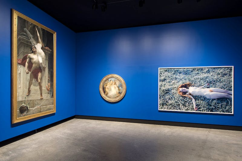 <em>Ajax and Cassandra</em> (1886) (left) and <em>Eros</em> (<em>c</em>. 1921) by Solomon J. Solomon, and <em>India (Frost)</em> (2013) (right) by Ryan McGinley, installation view, Mona. Photo: Mona/Rémi Chauvin