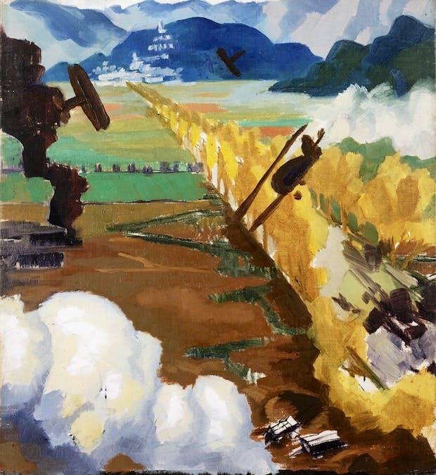Sopwith Camel Patrol Attacking an Austrian Aerodrome near Sacile (1918), Sydney Carline. Courtesy: Imperial War Museum
