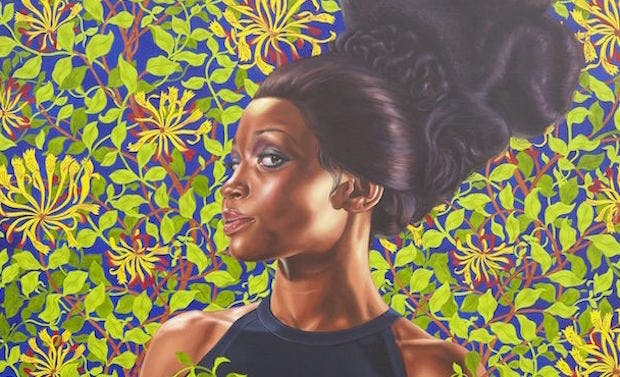 Detail of Shantavia Beale II (2012), Kehinde Wiley. © Kehinde Wiley. (Photo: Jason Wyche, courtesy of Sean Kelly, New York)