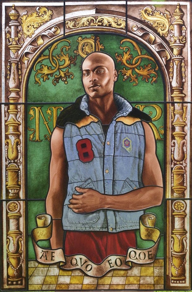 Arms of Nicolas Ruterius, Bishop of Arras (2014), Kehinde Wiley. Courtesy of Galerie Daniel Templon, Paris. © Kehinde Wiley