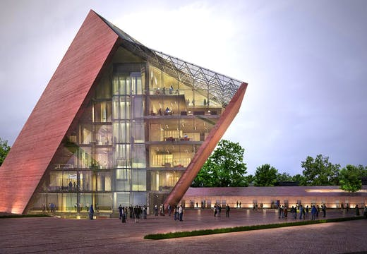Visualisation of Gdansk's Museum of the Second World War building designed by Studio Kwadrat