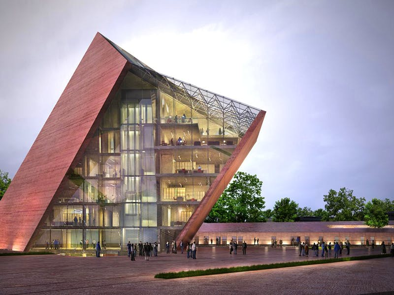 Visualisation of Gdansk's Museum of the Second World War building designed by Studio Kwadrat