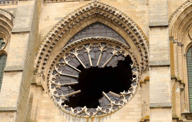 The west rose window of Saint Gervais et Saint Protais of