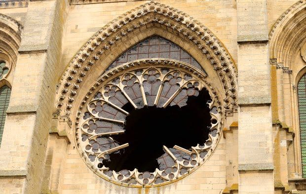 The west rose window of Saint-Gervais-et-Saint-Protais of Soissons on 13 January, 2017 after it was shattered by an overnight storm in northern France. François Nascimbeni/AFP/Getty Images