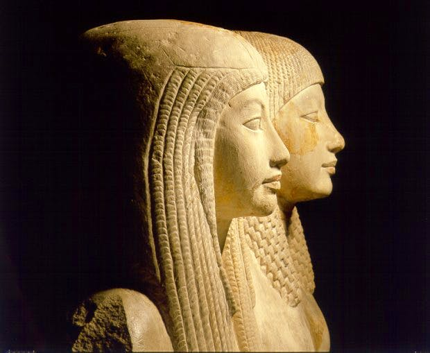 Statue of Maya and Merit, c. 1320 BC, Egyptian, Saqqara. Dutch National Museum of Antiquities