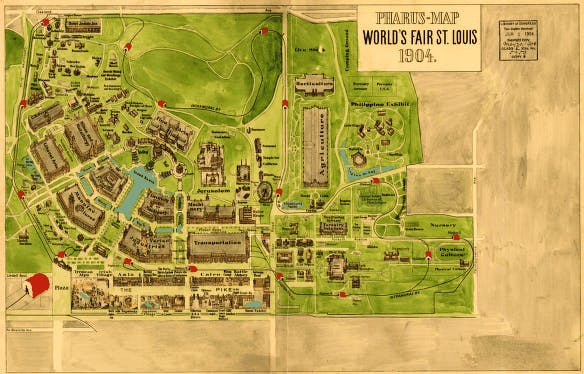 Map of the 1904 World's Fair in St Louis.