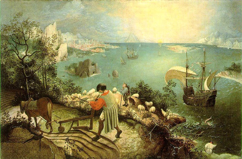 Landscape with Fall of Icarus, (n.d), Pieter Bruegel. Royal Museum of Fine Arts, Belgium