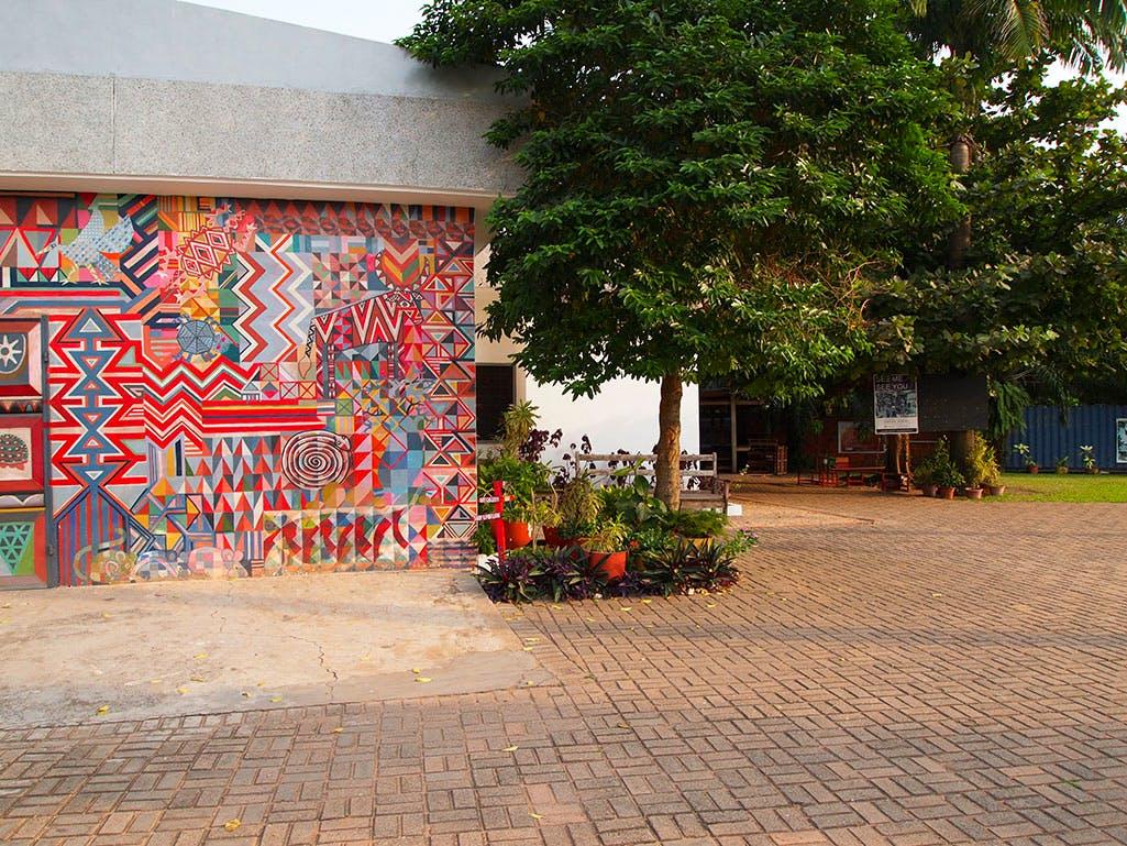 Nubuke Foundation with mural by Bernard Akoi-Jackson. Photo: Stephanie Dieckvoss