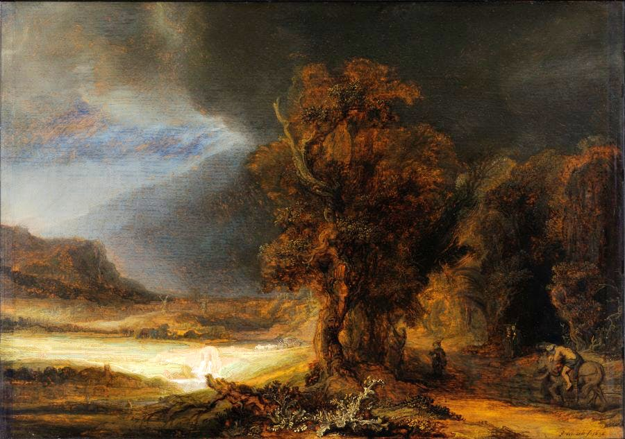 Landscape with the Good Samaritan, (1638), Rembrandt von Rijn. Princes Czartoryski Museum, Kraków. Courtesy National Museum in Kraków