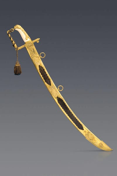 Captain Torin was presented with a Lloyd's Patriotic Fund sword for his part in 'The Battle of Pulo Aura' in 1804. Peter Finer