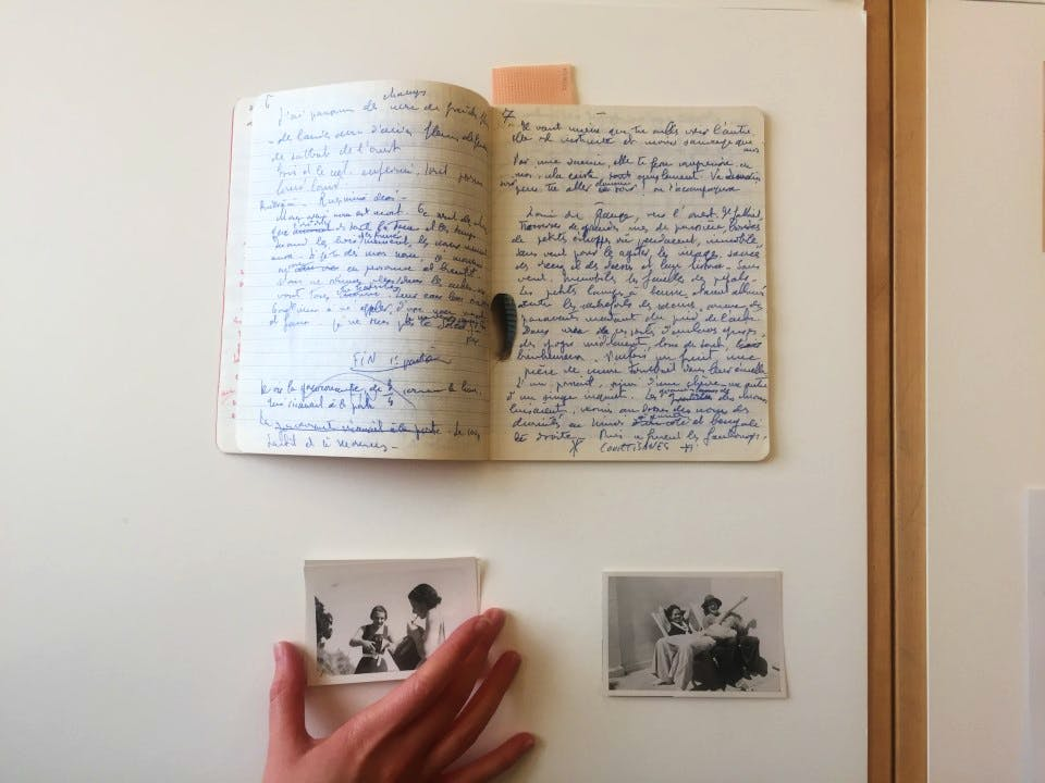 Photographs from the collection and a notebook belonging to poet and artist Valentine Penrose, née Boué. Courtesy Scottish National Galleries