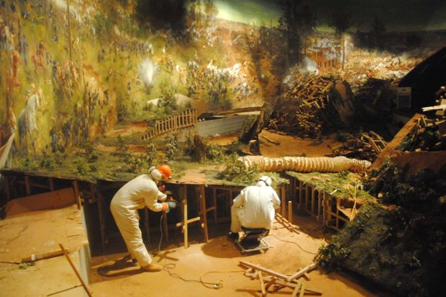 The surface of the diorama being removed from Grant Park for its transfer to the Atlanta History Center. Photo: © Atlanta History Center
