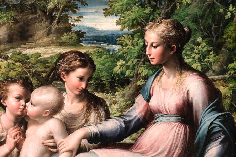 The Virgin and Child with Saint Mary Magdalen and the Infant Saint John the Baptist (c. 1535–40) Parmigianino.