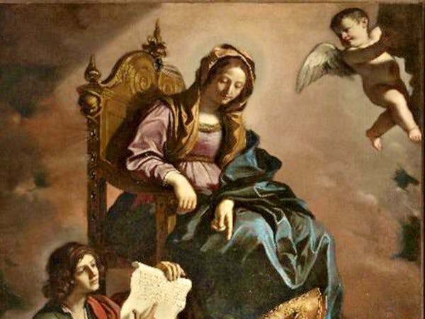 Madonna with the Saints John the Evangelist and Gregory the Wonderworker, , (1639) (detail), Guercino.
