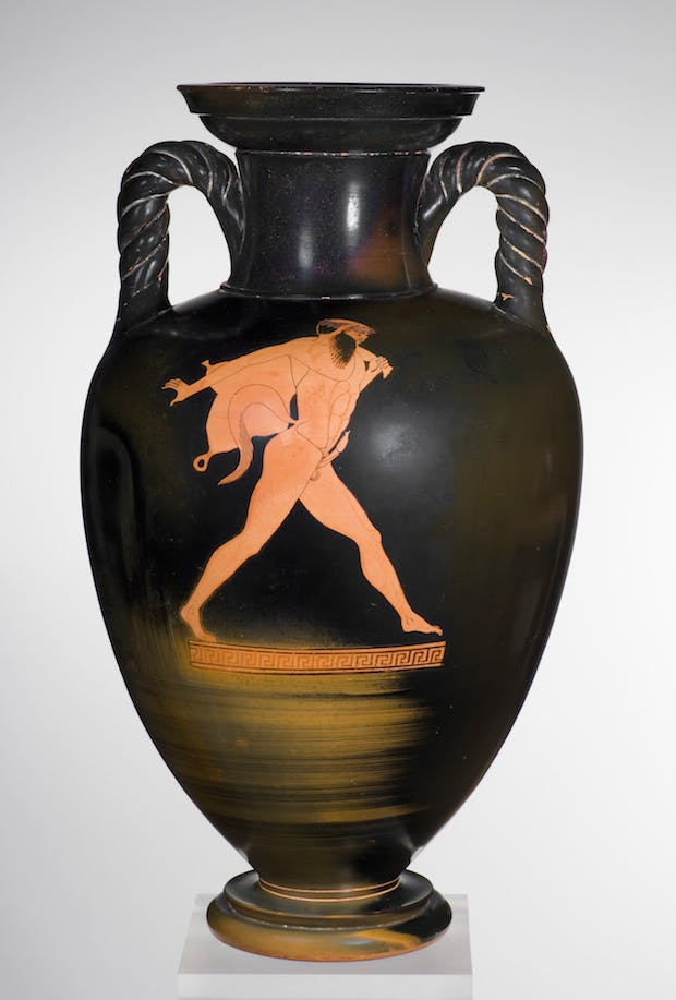 Red-figure neck-amphora with twisted handles: A, Dionysos with thyrsos, kantharos, and lion; B, Satyr carrying a wineskin (c. 480 BC) Greek, Attic, attributed to the Berlin Painter. Image courtesy Staatliche Antikensammlungen und Glyptothek München
