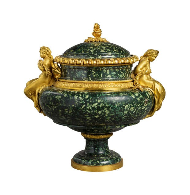 Porphyry and gilt bronze vase (c. 1775–80), gilt bronze by Pierre Gouthière, green Greek porphyry carved by Augustin Bocciardi or Pierre-Jean-Baptiste Delaplanche, after a design by François-Joseph Bélanger. Musée du Louvre, Paris. Musée du Louvre, Paris. Photo: © RMN-Grand Palais/Art Resource, NY