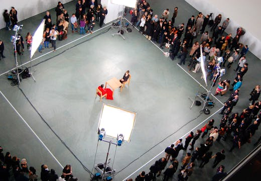 A Marina Abramović performance during 'Marina Abramović: The Artist is Present' at MoMA, New York in 2010. Wikimedia Commons