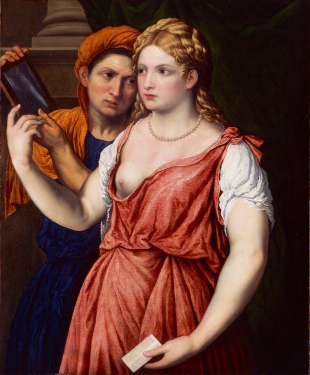Junge Dame mit Spiegel und Magd (c. 1535–1540), Paris Bordone. © Hamburger Kunsthalle / bpk, Photo: Elke Walford