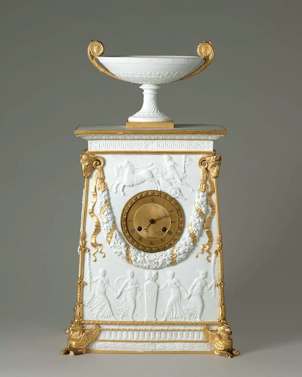 Bisque porcelain clock with gold highlights (1813), made by Sèvres Porcelain Manufactory. Sèvres, Cité de la céramique