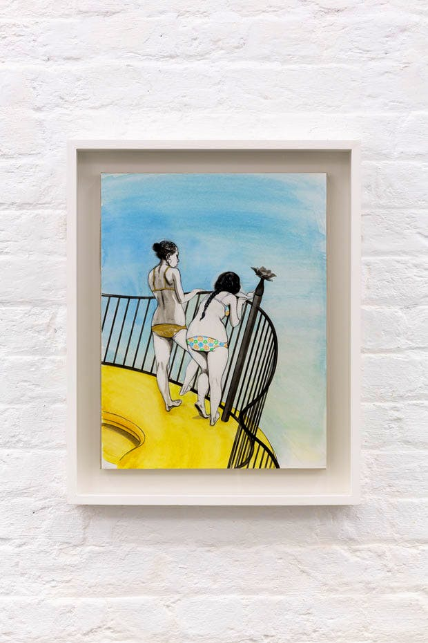 Untitled (Two Girls on Balcony) (2016), Charles Avery. Courtesy the artist and Pilar Corrias, London. Photo: Tim Bowditch