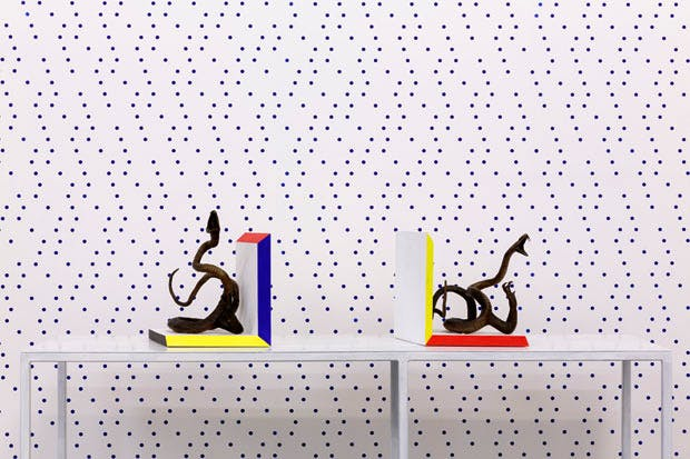 Untitled (Bookends), (2012-15) and Untitled (Atomist) (wallpaper; 2014), Charles Avery. Courtesy the artist and Private Collection, London. Photo: Tim Bowditch