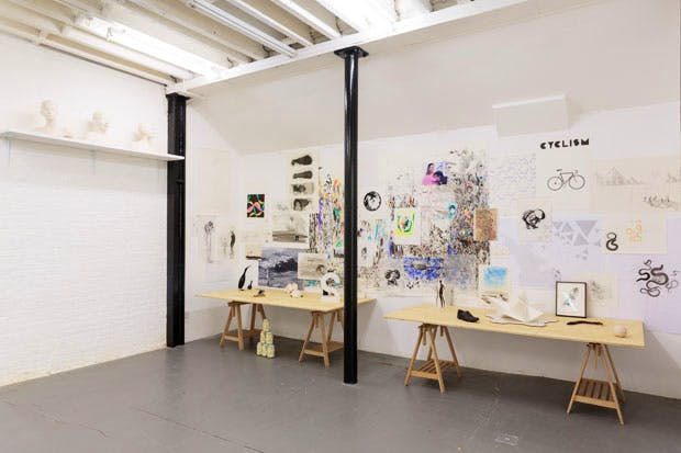 Materials and documents from the artist's studio on display in 'Study #15. Untitled (The Ninth Resort), Charles Avery' at DRAF, 2017. Courtesy the artist and DRAF. Photo: Tim Bowditch