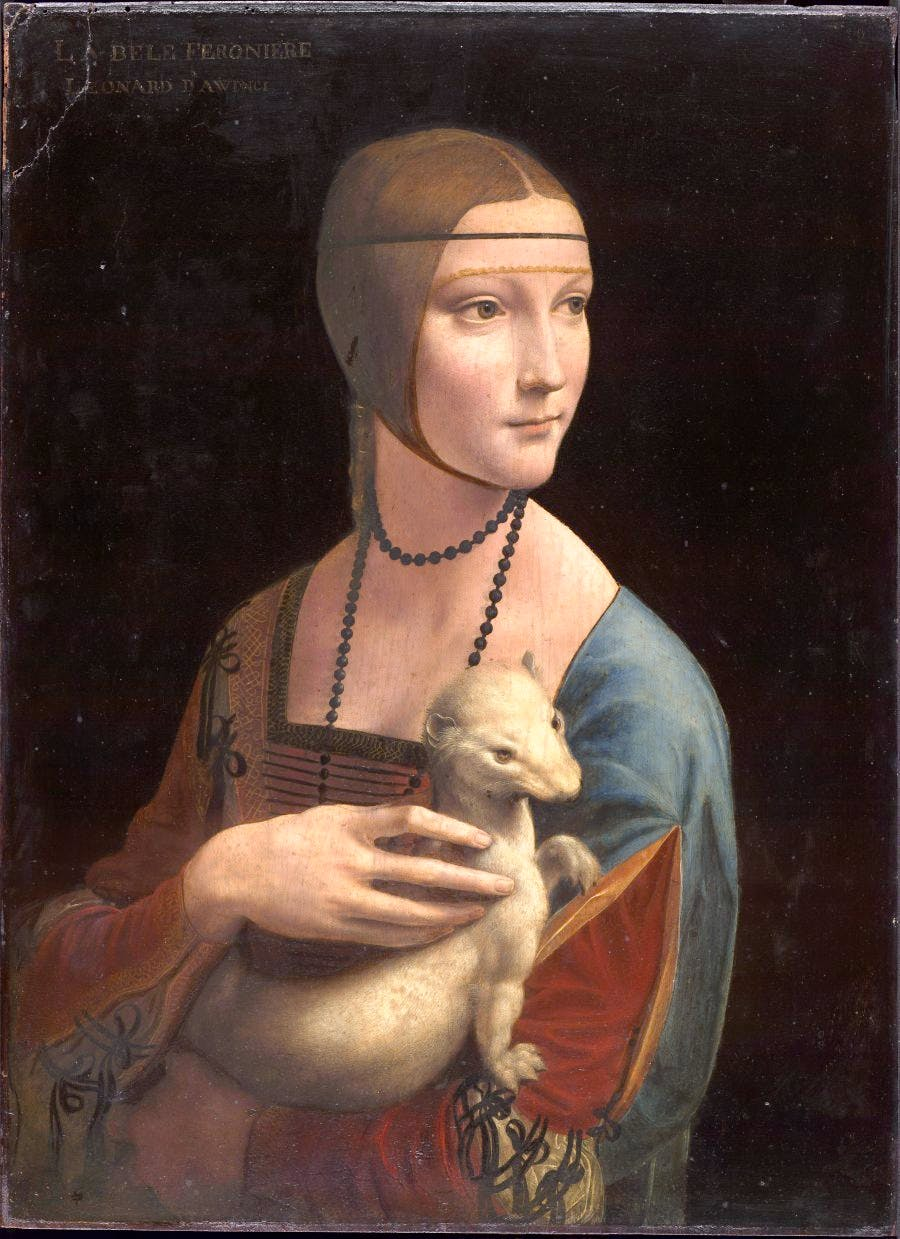 Lady with an Ermine (detail), (c. 1489–90), Leonard da Vinci. Princes Czartoryski Museum, Kraków. Courtesy National Museum in Kraków