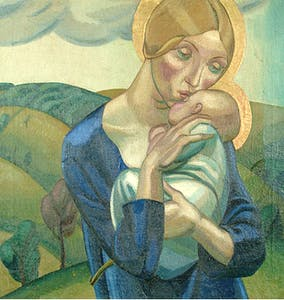 Madonna and Child in a Landscape (1924), David Jones. © Trustees of the David Jones estate. Image courtesy of Ditchling Museum of Art + Craft