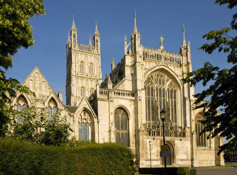 An exhibition promoting inter faith tolerance has been vandalised at Gloucester Cathedral.