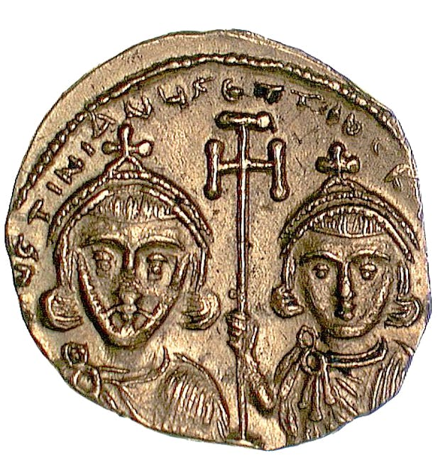 Gold tremissis of Justinian II (c. 705-711). Courtesy Barber Institute, Birmingham