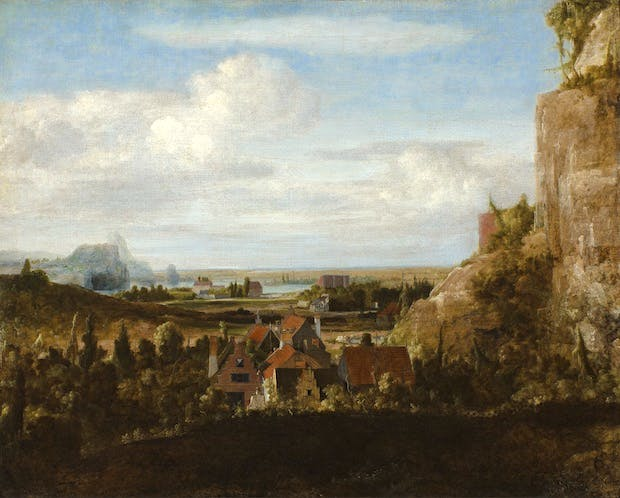 Houses near Steep Cliffs (date unknown), Hercules Segers. Museum Boijmans Van Beuningen, Rotterdam