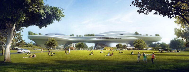 Rendering of the George Lucas Museum of Narrative Art, LA. Image courtesy of Lucas Museum of Narrative Art