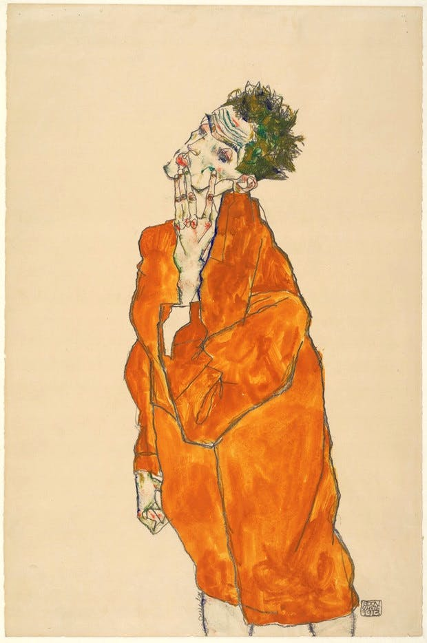 Self-portrait in orange cloak (1913), Egon Schiele. Albertina, Vienna