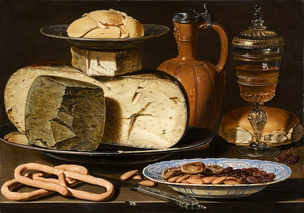 Still Life with Cheeses, Almonds, and Pretzels (c. 1615), Clara Peeters. Mauritshuis, The Hague