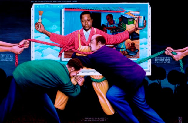 A Painting to Defend, (1993), Chéri Samba.