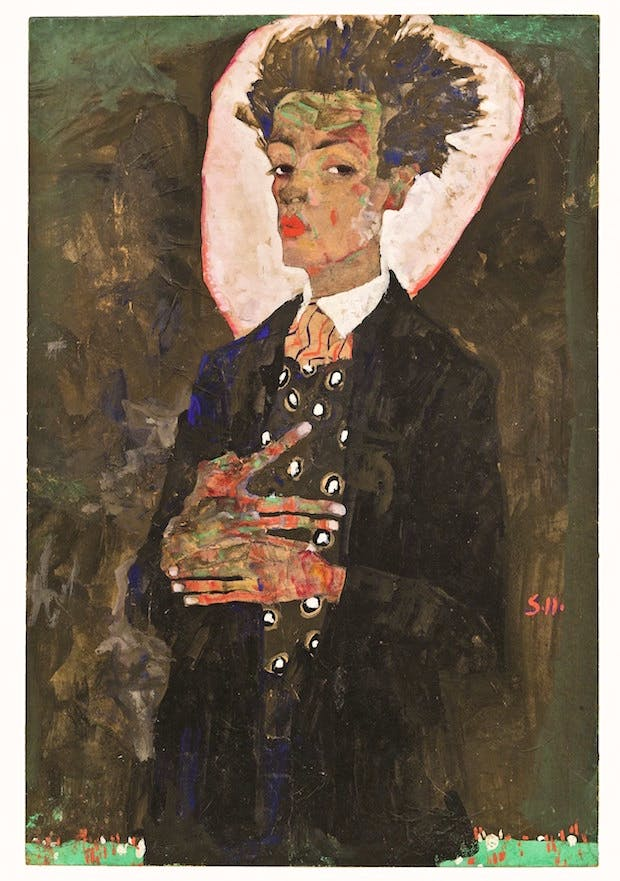 Self-Portrait with Peacock Waistcoat (1911), Egon Schiele. © Collection of Ernst Ploil