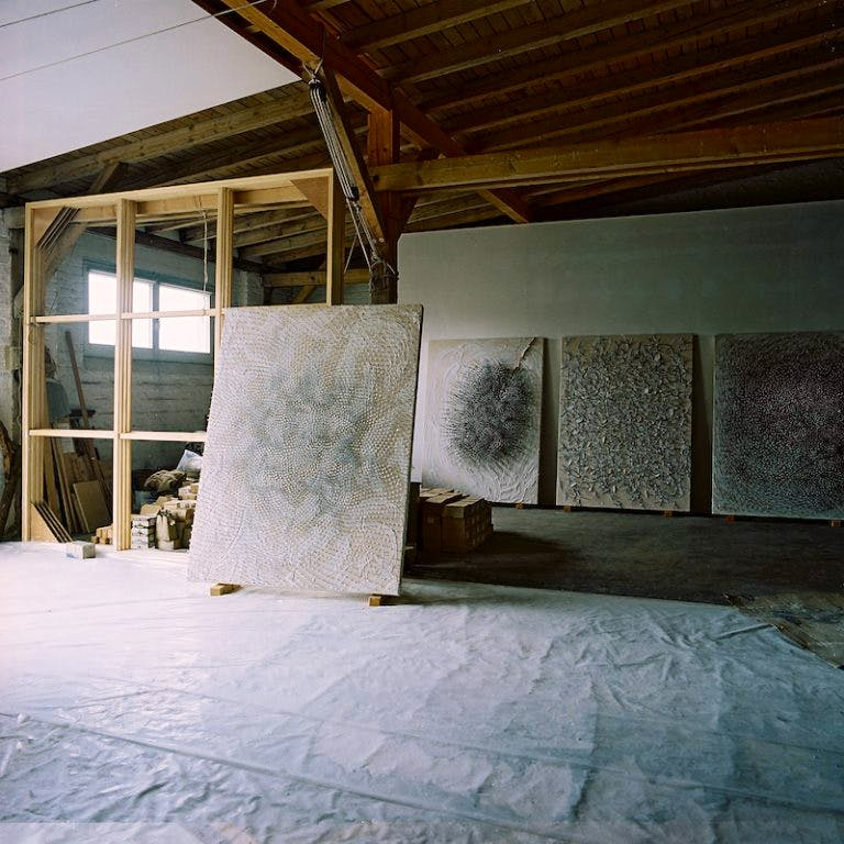 Works made for the 'Verletzte Felder' (Wounded Fields) exhibition at Lévy Gorvy, standing in Uecker's studio in Dusseldorf in August 2016. Photo: Herbert Koller; © 2016 Günther Uecker