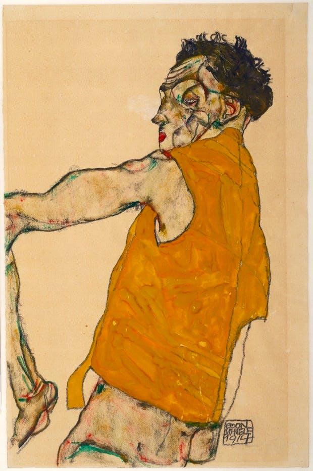Self-Portrait in Yellow Vest (1914), Egon Schiele. © Albertina, Vienna