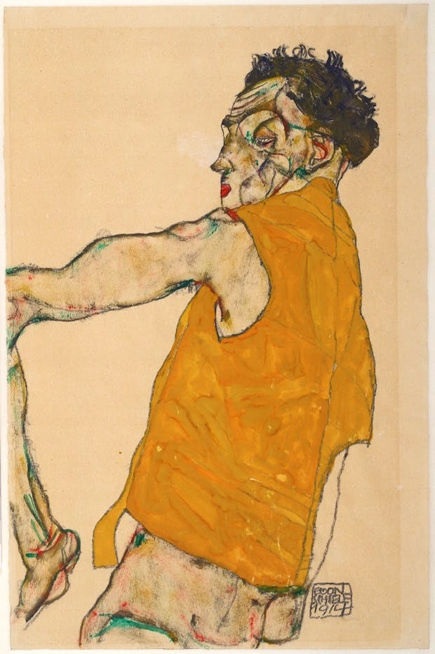 Self-Portrait in Yellow Vest (1914), Egon Schiele. © Albertina, Vienna