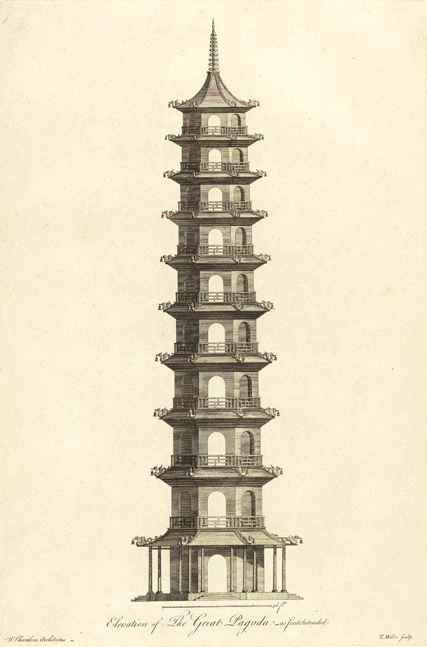 'Elevation of the Great Pagoda as First Intended' from Plans, Elevations, Sections, and Perspective Views of the Gardens and Buildings at Kew in Surrey (London: J. Haberkorn, 1763) T. Miller after Sir William Chambers. Yale Center for British Art, Paul Mellon Collection