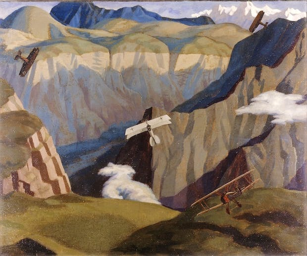 The Destruction of an Austrian Machine in the Gorge of the Valley of the Brenta (1918), Sydney Carline. Courtesy: Imperial War Museum