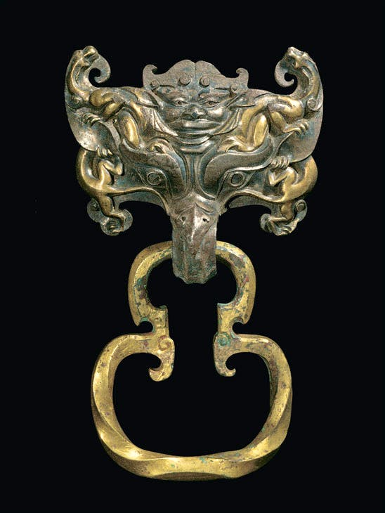 Bronze gilded coffin handle from the western Han dynasty (206 BC – 9 AD), excavated in 1968. Photo: Courtesy Hebei Provincial Museum, Shijiazhuang