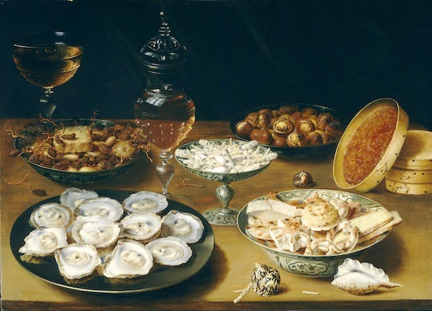 Still Life with Oysters, Fruit, and Wine (c. 1610–20), Osias Beert. Washington, National Gallery of Art